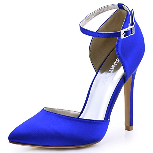 (ElegantPark HC1602 Women's Pointed Toe High Heel Ankle Strap D'Orsay Satin Dress Pumps Royal Blue US)