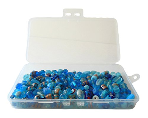 Lampworked Glass Bead Mix 200-Grams About 150-200 Beads In Clear Storage Case (Turquoise Blue)