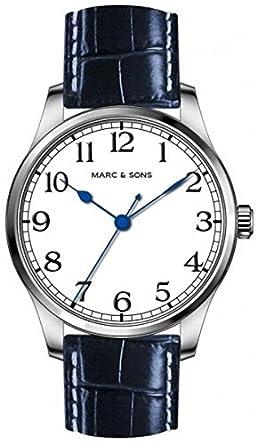 MARC & SONS Marine Automatik Herrenuhr weiß blau - Miyota 9015 - Referenz MSM-005
