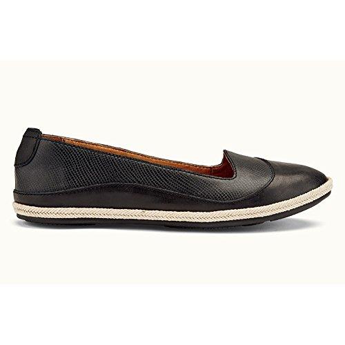 Olukai Black Flat Leather Lino OluKai Women's Black 1qxwS68wvE