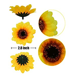 """HUIANER 100PCS Artificial Sunflower Heads, 2.8"""" Fake Simulation Sunflower Head for Wedding Home Party Cake Decoration 2"""