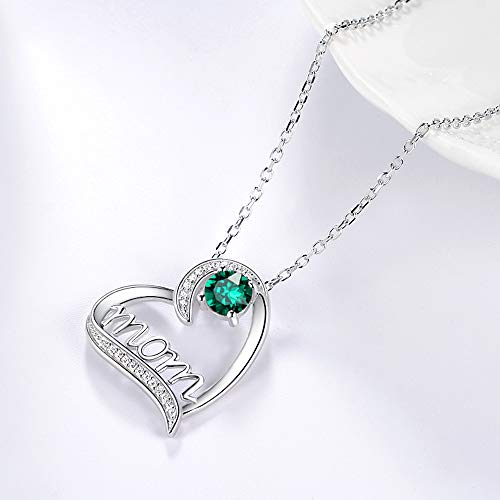 Birthday Gifts for Mom Love Heart Necklace Jewelry I Love You Mom Green Emerald Sterling Silver Jewelry for Women 20 Chain