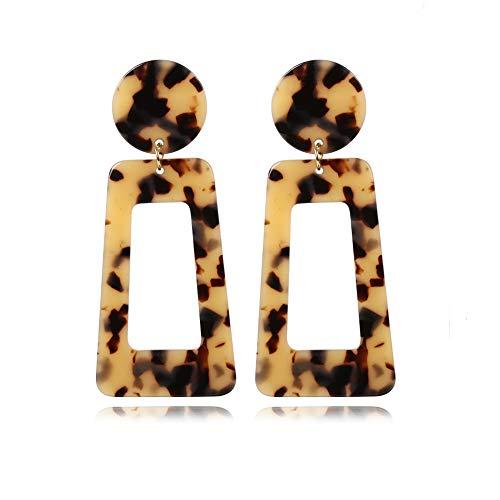 Gada Leopard Big Square Hoop Earrings Acrylic Acid Acetate Board Drop Square Earrings (Light Leopard Style 2)