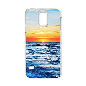 COOL phone case,For white plastic Samsung Galaxy S5 case with Sunrise on the Sea Pattern at SMALL HORSE store