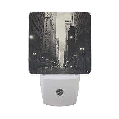 Lasalle Bathroom Light - Plug-in LED Night Lights with Lasalle Street Station Nightlights with Dusk to Dawn Sensor White Light Perfect for Bathroom Kitchen and Hallway