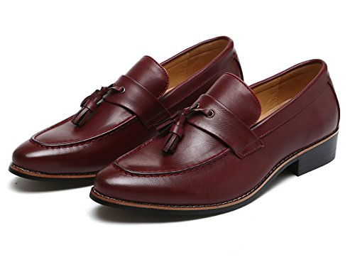 Modern on Slip Loafers Pointed by Slipper Black Oxfords Santimon Red Shoes Tasseled Toe Red Tan Dress Men SqxUAXF