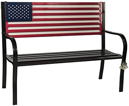 BACKYARD EXPRESSIONS PATIO HOME GARDEN 906727 Metal American Flag Patio Front Porch or Park Bench Outdoor