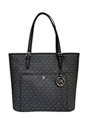 A Michael Kors Jet Set tote crafted in signature coated twill with silver-tone hardware and a fully lined interior. This Michael Kors tote features a top zip closure, two main pockets, a center zip pocket, an interior zip pocket, interior wal...