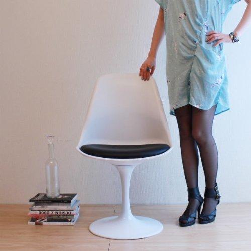 エーロサーリネン「Tulip Chair(チューリップチェア)ブラック色」           【回転式】【デザイナー:エーロサ-リネン】【ダイニングチェア】【プラスチック製】【椅子】【デザイナー家具】【高品質】【低価格】【リプロダクト】【シェルチェア】【ジェネリック】 B00PF5BD74