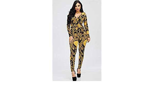 2d7dc2134b1a Black and Gold Medallion Print Jumpsuit Black and Gold 2XL at Amazon  Women s Clothing store