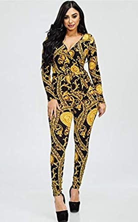 70e92b0365b Black and Gold Medallion Print Jumpsuit Black and Gold 2XL at Amazon ...