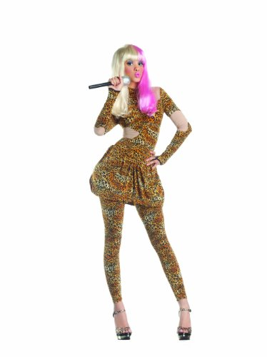 Party King Leopard Rap Superstar Women's Costume, Brown Leopard, Medium