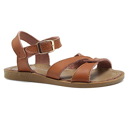 EQUICK Girl's Leather Sandals Open-Toe Adjustable Flat Sandal Casual Shoes Outdoor and Indoor from (Toddler/Little Kid/Big Kid/Women's),U2ELTLX001,N,Tan,25