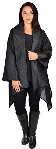 Dare2bStylish Women Plus Size Loose Fitting Poly Silk Designer Cover Up Duster (Black Silk Jacket)