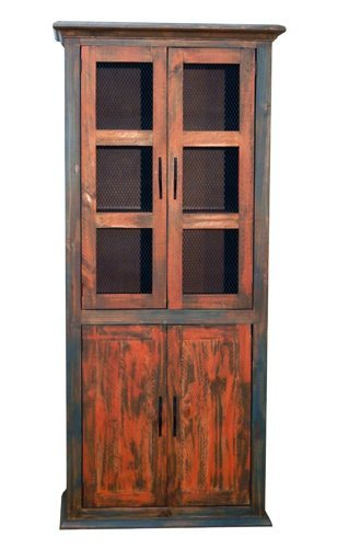 Rustic 4 Door Pantry Cabinet Orange Turquoise Rubbed Finish * Western * Wood  *