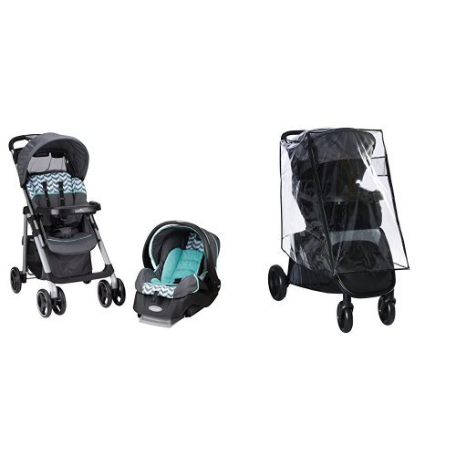 Evenflo Vive Travel System with Embrace, Spearmint Spree with Stroller Weather Shield & Rain Cover