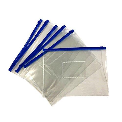 TOOGOO(R) 12 x A5 Blue Zip Zippy Bags -Document Clear Plastic Transparent Storage bag