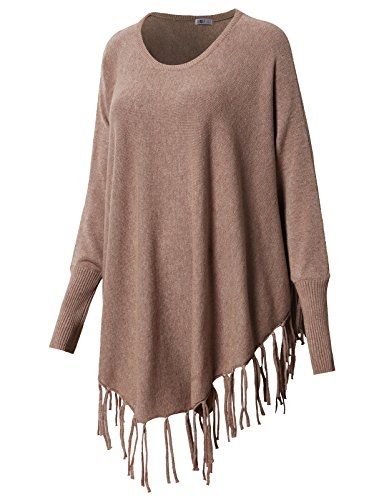 Trim Crossover (H2H Womens Sexy Tassel Trim Crossover Poncho Party Clubwear Top Khaki US L/Asia L (CWOSWL048))