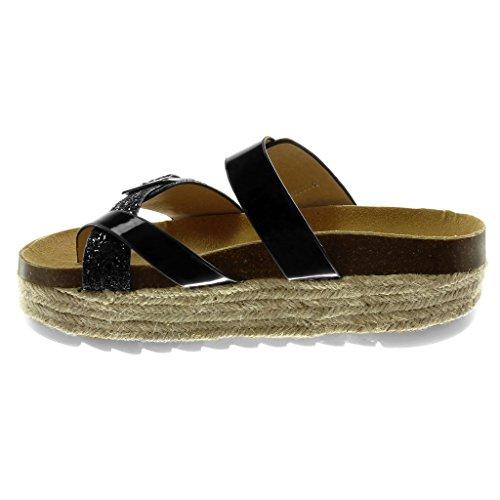 Brillante Hebilla 5 Slip on Sandalias Cm Brillantes Mujer Negro Angkorly Zapatillas Moda Plataforma Chanclas PxTf8zq