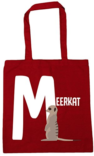 x38cm animal litres Classic 10 Red is Beach HippoWarehouse alphabet Shopping Gym Tote 42cm Bag M meerkat for 6X7wp