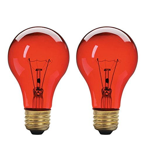 A19 Incandescent Colored Light Bulb, 60W, E26 Medium Base, 130V, Red (2 Pack) (Base Red Incandescent Light Bulb)