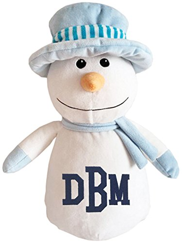 Personalized Stuffed Snowman in a Blue Hat with Embroidered Collegiate Monogram