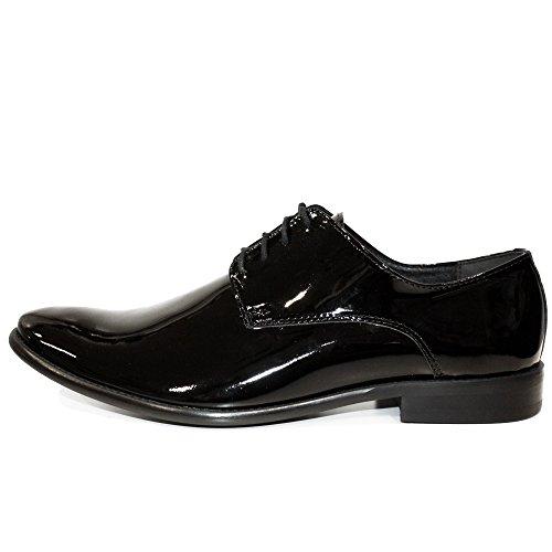 b16798a211450 Modello Obsidian - Handmade Italiennes Cuir pour des Hommes Black Chaussures  Oxfords - Cuir de Vachette ...