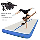 MELCHEF 10ft/13ft/16ft/20ft Inflatable Gymnastics Airtrack Tumbling Mat Air Track Floor Mats with Electric Air Pump for Home Use/Training/Cheerleading/Beach/Park and Water 20ftx3.3ftx4in(6x1x0.1m)