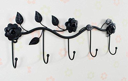 LingStar Black Garden Floral Pattern Wall Mounted 5 Coat Hook / Clothing Rack / Key Holder / Hat Hanger