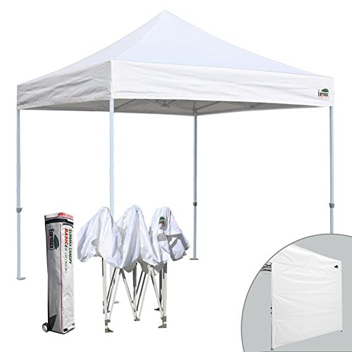 Eurmax 10×10 Ez Pop up Canopy Commercial Outdoor Shade Instant Tent With Heavy Duty Roller Bag, Bonus One Sidewall (White)