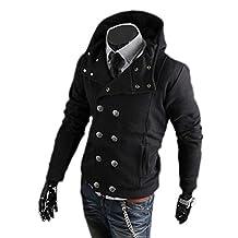 Pretty Moments Men's Double-Breasted Hoodie Slim Tracksuit Jacket Sweatshirt Black L