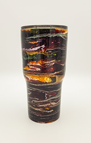 Wine Burgundy Gold Yellow Moss Olive Green Black Sparkle Swirl | Alcohol Ink | 30 oz | Stainless Steel | Hot Ice Cold Tumbler | Drink Cup