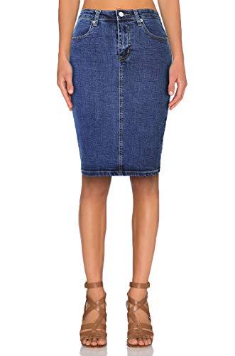 TAIPOVE Women Knee Length Denim Skirt Stretchy Sexy Classic Comfy Pencil Skirt Bodycon Casual Summer Midi Skirt Curvy…