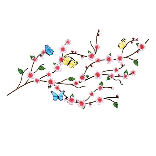 Collections Etc Cherry Blossom & Butterflies Asian Home 3D Sculpted Metal Wall Art Décor
