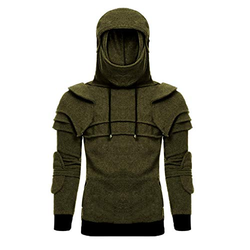 Mens Hoodie Vintage Adjusted Mask Elbow Pullover Solid Sweatshirt Outdoor Sport Warm Thick Jackets Coat Blouse Tops Outwear (Army Green, 2XL)