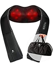 Etekcity Shiatsu Massagegerät Massagekissen für Nacken Rücken Schulter Nackenmassagegerät mit Wärmefunktion, Massage für Zuhause Auto Büro, mit AC- und DC Adapter, Schwarz