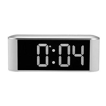 guyuell Espejo Led Reloj De Alarma Digital Termómetro Luz De Noche Cable USB Contador De Tiempo Despertador Electrónico Relojes De Mesa Digital De ...