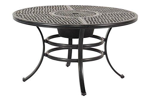 HARTMAN exklusiver Jamie Oliver Gartentisch, Grilltisch in edlem grau, solides, hochwertiges Aluminiumgerüst, runde Tischplatte, Ø 132 x 74 cm, wetterfest, korrosionsbeständig, Metallwanne einsetzbar