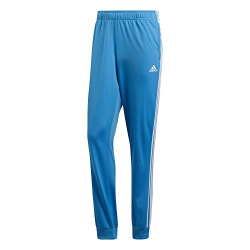 adidas Men's Athletics Essentials 3 Stripes Tapered Tricot Pant, Bright Blue/White, Large