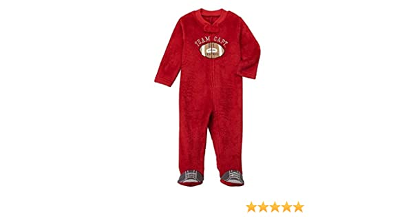 7a610f7a25 Amazon.com  Infant Boys Red Fleece Football Blanket Sleeper Sleep   Play Footie  Pajamas  Clothing