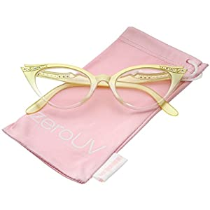 zeroUV - Women's Retro Rhinestone Embellished Clear Lens Cat Eye Glasses 51mm (Yellow/Clear)