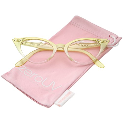 zeroUV - Women's Retro Rhinestone Embellished Clear Lens Cat Eye Glasses 51mm (Yellow / Clear) (Fifties Cat Eye Rhinestone Glasses)