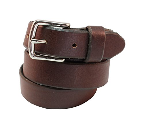 Beverly Full Grain Leather Designer Hand Crafted Belt 1 inch(26mm) Wide With (Brown Designer Belts)