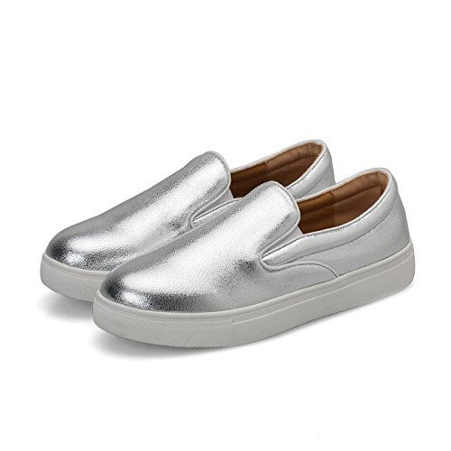 1TO9 Womens Penny-Loafer Flatform Platform Solid Pleather Loafers Shoes MMS05754 Silver UJHHiGFW