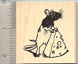 Rat with Cheese Rubber Stamp - Wood Mounted (Cheese Hedgehog)