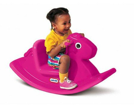 By Toys at Home Design Baby Rocking Horse, Plastic - Sturdy, Color Magenta