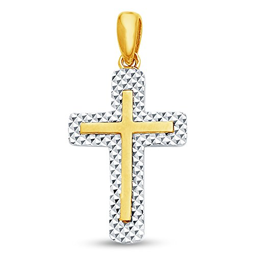 Sonia Jewels 14K Two 2 Tone White and Yellow Gold Diamond-Cut Religious Christian Latin Cross Crucifix Pendant Charm (19x13 mm)