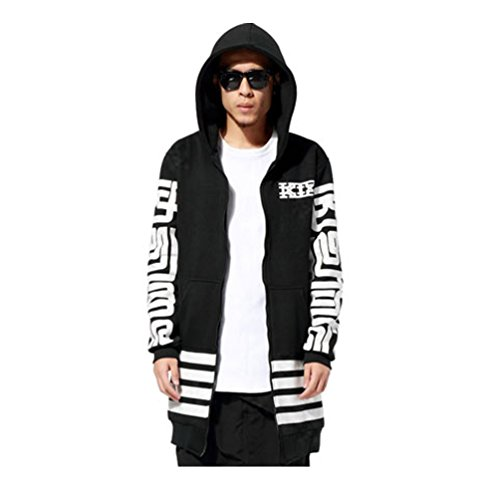 Pizoff Unisex Zip up Extra Long Coat Jacket Hoodie Dress Y1140-S
