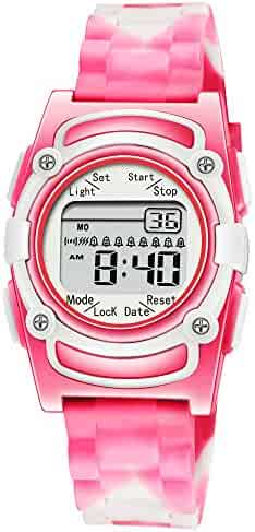 Kids Digital 8 Alarm Vibrating Watch Medication Reminder Potty Urinary Training Vibration Pill Alert Vibra Medical Reminder for Children (Pink White Camouflage)