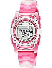 Kids Digital 8 Alarm Vibrating Watch Medication Reminder Potty Urinary Training Vibration Pill Alert Vibra Medical Reminder for Children (Pink White Camouflage)